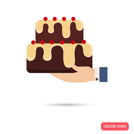 Birtday cake in hand color icon. Flat design for web and mobile Illustration