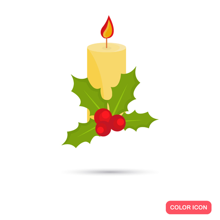 Christmas candle color icon. Flat design for web and mobile Illustration