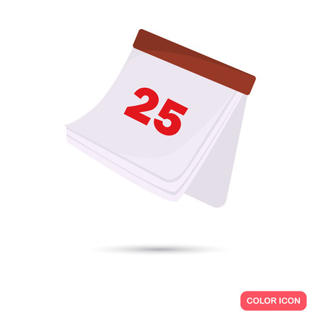 date night: Calendar with Christmas date color icon. Flat design for web and mobile