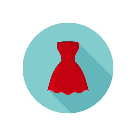 Red dress color icon. Flat design for web and mobile