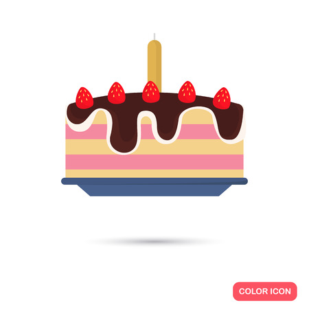 date fruit: Party cake color icon. Flat design for web and mobile Illustration