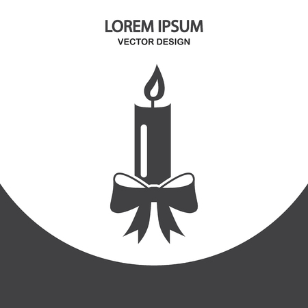 vax: Christmas candle icon. Flat design for web and mobile Illustration