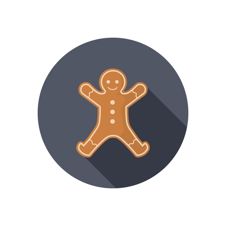 Christmas gingerbread Man color icon. Flat design for web and mobile
