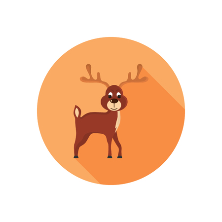 Christmas deer color icon. Flat design for web and mobile Illustration