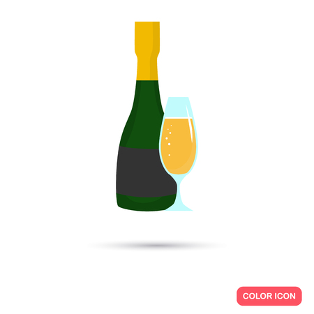 Champagne bottle and glass color icon. Flat design for web and mobile Illustration