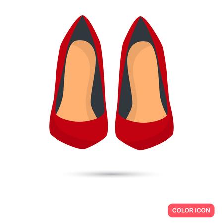 tacones rojos: tacones rojos icono de color. Diseño plano para web y móviles