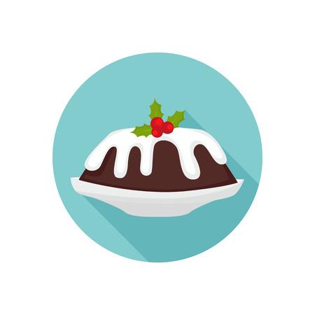 christmas pudding: Christmas cake color icon. Flat design for web and mobile