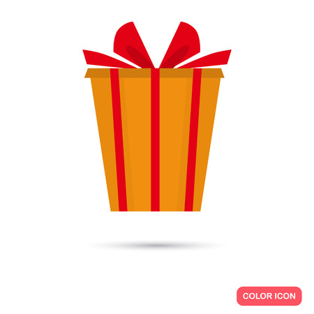 Gift box color icon. Flat design for web and mobile