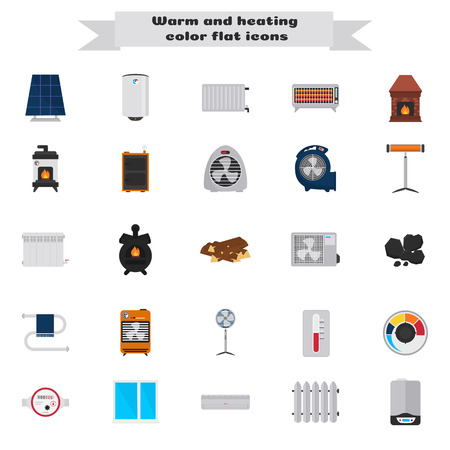 Heating and air conditioning devices color flat icons set