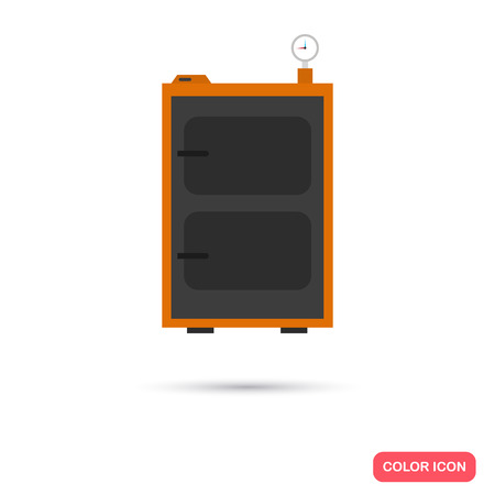 temperature controller: Solid fuel boiler color icon. Flat design for web and mobile