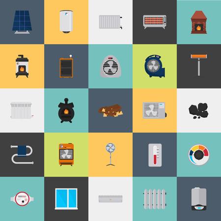 Verwarming en airconditioning apparatuur kleur vlakke pictogrammen instellen