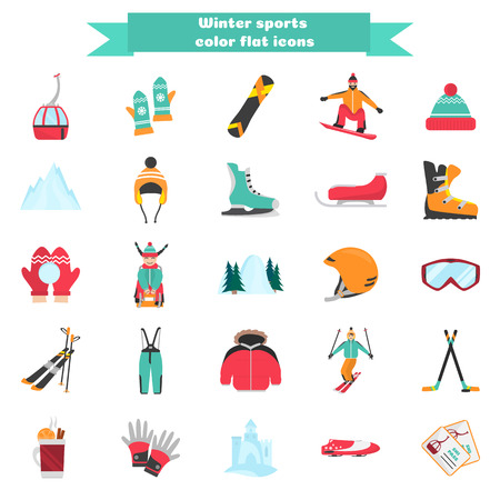 Winter sports and fun color flat icons set
