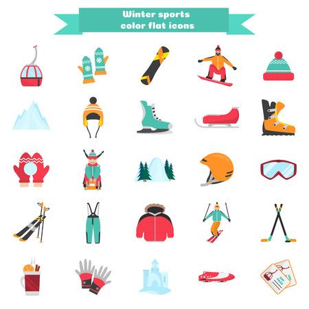 Wintersport en plezier kleur vlakke pictogrammen instellen