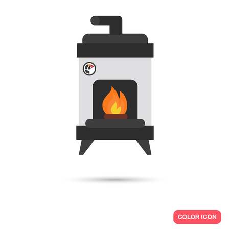 Floor fireplace color icon. Flat design for web and mobile