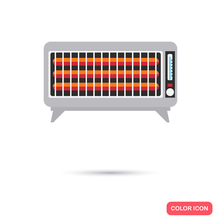 temperature controller: Electric heater color icon. Flat design for web and mobile