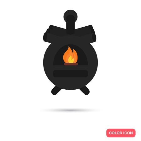 Solid fuel boiler color icon. Flat design for web and mobile