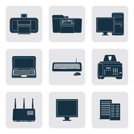 Office equipment simle icons set