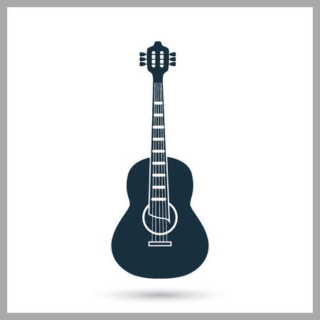 Acoustic guitar music instrument icon. Simple design for web and mobile Illustration