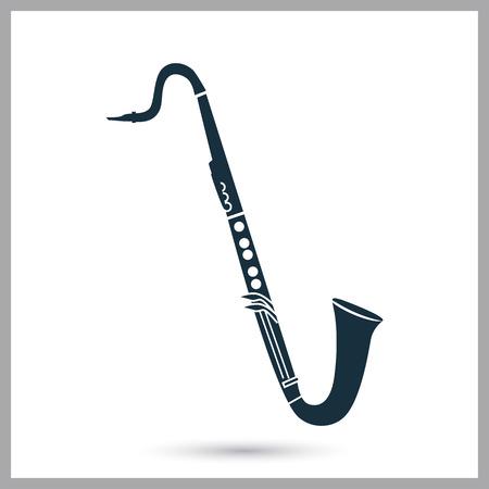 Bass-Klarinette Musikinstrument Symbol. Einfaches Design für Web und Mobile