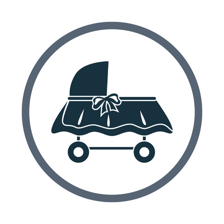 frill: Baby cot icon. Simple design for web and mobile Illustration