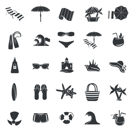 Set of simple beach rest and travel icons for web and mobile design