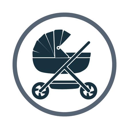demografia: icono de coche de bebé. Diseño simple para web y móviles