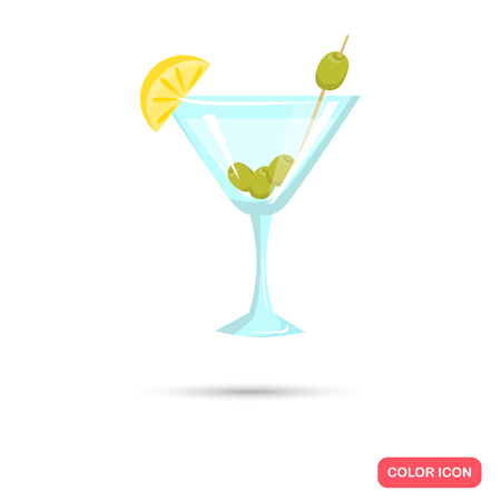 Glass with martini and olives color flat icon