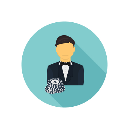 Casino player color flat icon