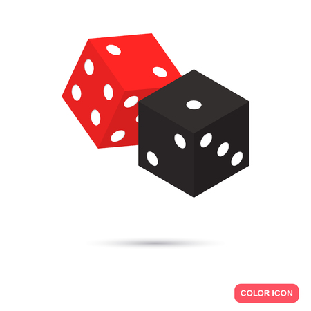 Black and red dices color flat icon Illustration