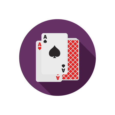 Pair of aces color flat icon