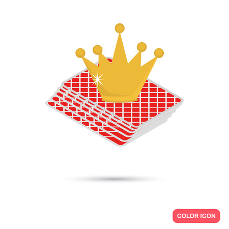 Card dack and golden crown color flat icon Illustration