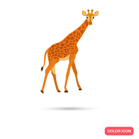 Giraffe color flat icon for web and mobile design