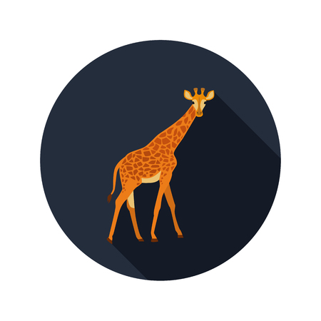 Giraffe color flat icon for web and mobile design