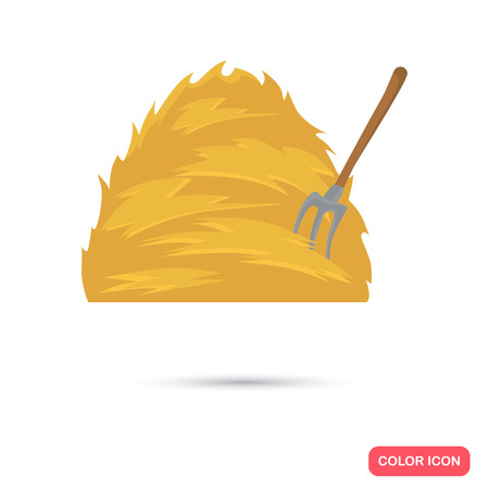 Haystack and forks color flat icon for web and mobile design