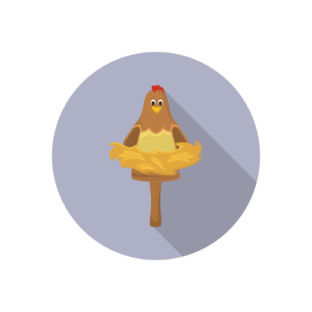 laying egg: Chicken in the nest color flat icon for web and mobile design
