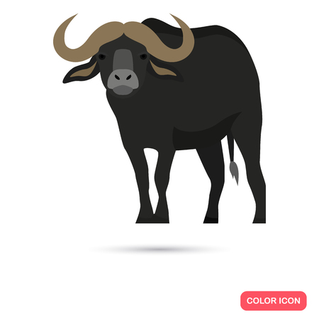 Bison color flat icon for web and mobile design