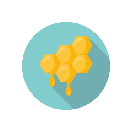 honey comb: Honey comb color flat icon for web and mobile design