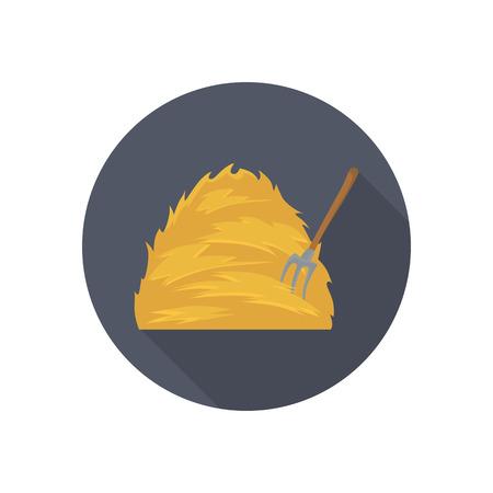 Haystack and forks color flat icon for web and mobile design Illusztráció
