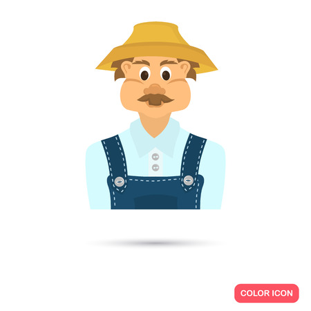 brow: Farmer color flat icon for web and mobile deaign