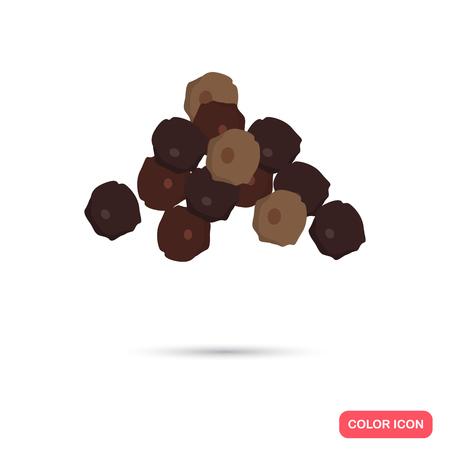 Schwarzer Pfeffer Erbsen Farbe flach Symbol für das Web und mobile Design