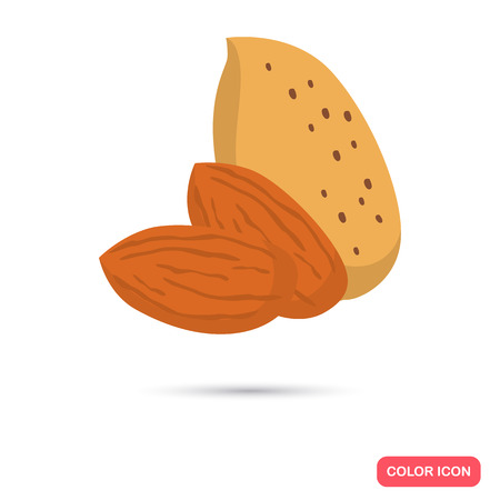Almonds color flat icons in cartoon design