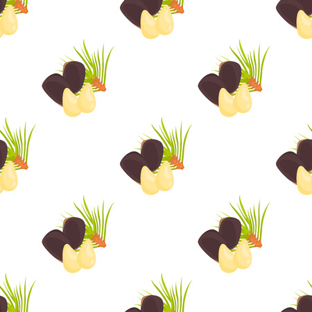 pine kernels: Pattern with pine nuts color icon in cartoon design