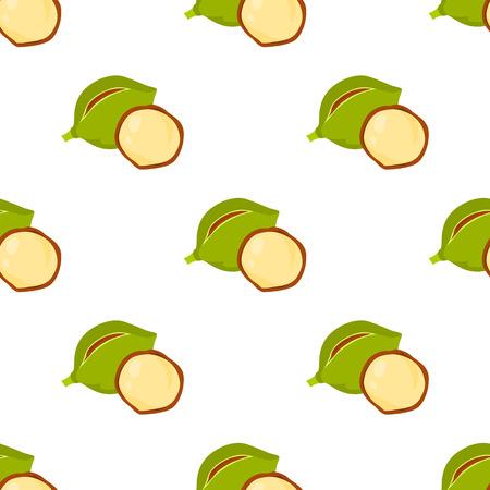 Pattern with macadamia nut color icon in cartoon design