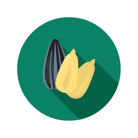 Sunflower seeds color icon in cartoon design