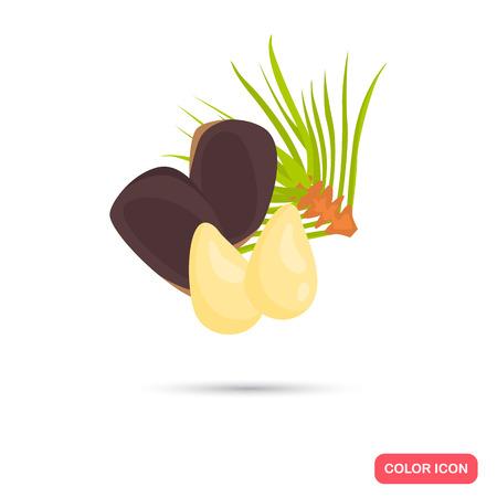 Pine nuts color icon in cartoon design