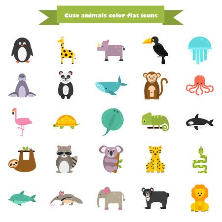 Conjunto de iconos de animales planos de color divertido
