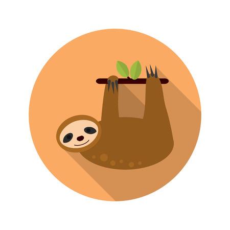 oso perezoso: color de la pereza icono plana Vectores