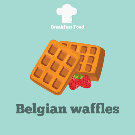 Belgian waffle color icon. Cartoon style for web and mobile design