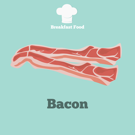 Bacon slices color icon. Cartoon style for web and mobile design Illustration