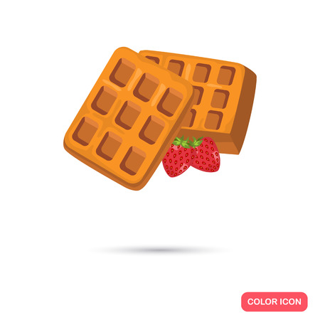 toasted: Belgian waffle color icon. Cartoon style for web and mobile design